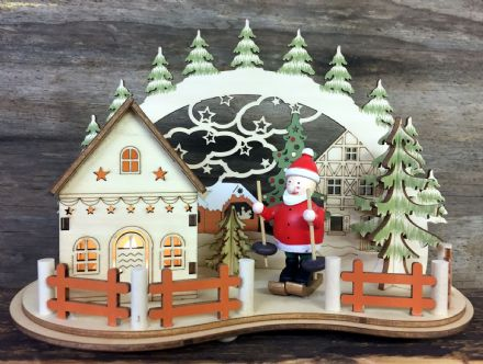 Forest Cabin Handcrafted Wooden Light UP Ornament with Santa Skier